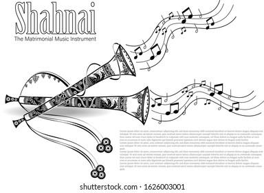 Artistic beautiful Indian Musical Instrument for Matrimonial - Shehnai pattern design.