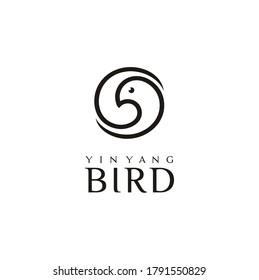 Artistic Beautiful Pigeon Dove Bird Head with Beauty Luxury Elegant Yin Yang style logo design
