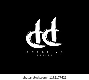 Artistic Brush Stroke Letter DD Logotype Illustration