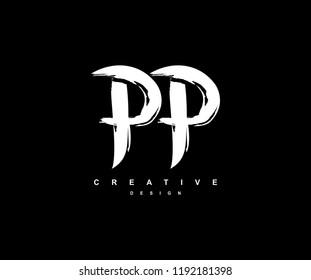 Artistic Brush Stroke Letter PP Logotype Illustration