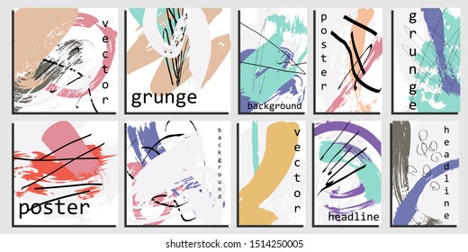 Artistic card templates. Hand painted background with ink brush strokes