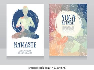 artistic cards template for yoga retreat or yoga studio, vector illustration