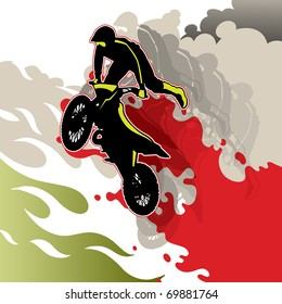 Artistic conceptual extreme motorcycling background. Vector illustration.