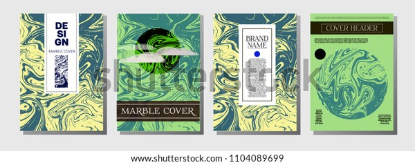 Artistic Cover Design. A4 Marble Textured Set. Modern Oil Paint Blue, Green, Yellow, Purple, Orange, Red Business Templates. Artistic Cover, Suminagashi Poster Design, Marble Texture.