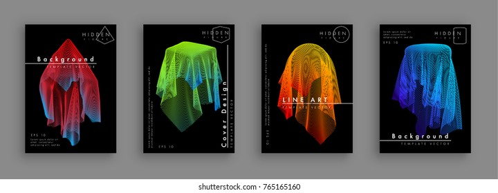 Artistic cover design. Hipster colorful backgrounds. Hidden cloth-covered figures. Fabric that consists of lines.  Simple geometric forms under the draperies. Eps10 vector
