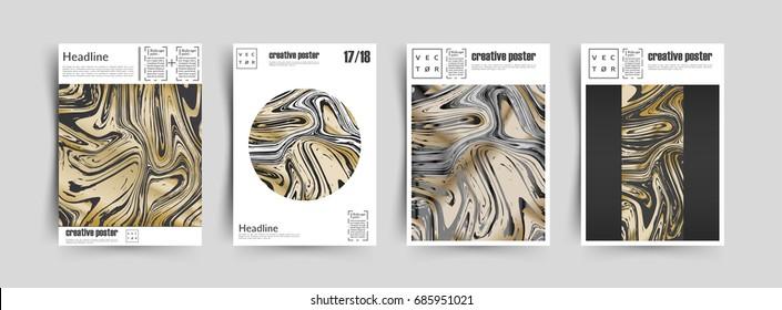 Artistic covers design. Creative golden metallic paint mix. Trendy design. Eps10 Vector.