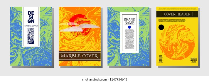 Artistic Covers Set. Business Marble Texture. Ocher, Blue, Green, Yellow, Purple, Orange, Red Ebru Liquid Paint Background. Artistic Cover, Glamour Ebru Invitation Design, Marble Texture.
