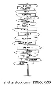 Artistic drawing of old wooden directional road arrow sign with names of some countries of Latin, South or Middle America. Mexico, Bolivia, Venezuela, Brazil, Argentina and more.
