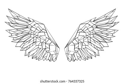 Artistic drawn, black outlined, polygonal wings on white background.