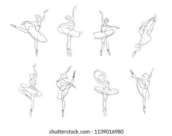 Artistic drawn pictures set of theatrical theme. The ballerina is dancing. Ballerina dancer with tutu, pose woman in ballet, minimalism vector illustration. line minimalism