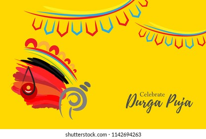 Artistic Durga Puja Background Illustration with Goddess Durga Head