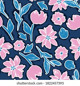 Artistic flower hand painted soft and cute seamless pattern floral vector EPS10,Design for fashion , fabric, textile, wallpaper, cover, web , wrapping and all prints