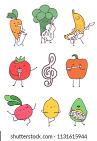 Artistic fruits and vegetables poster. Singers, dancers and musicians. Lemon, tomato, carrot, beetroot, broccoli, banana and avocado. Healthy food illustration. Image for kids design.
