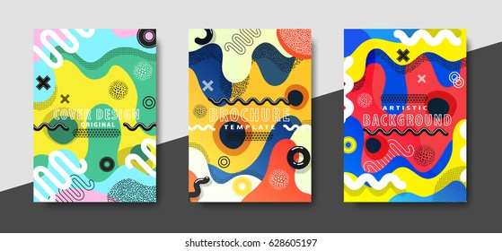 Artistic funky design for print products. Bright and high contrast background for poster, card, flyer, brochure and web design. Pop art, memphis and 80s style waves.