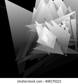 Artistic geometric image - Random angular, edgy shapes overlapping. Modern geometric art illustration