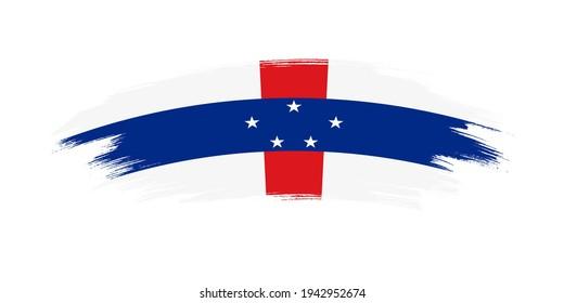 Artistic grunge brush flag of Netherlands Antilles isolated on white background