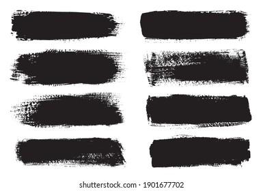 Artistic grungy creative brush stroke set.