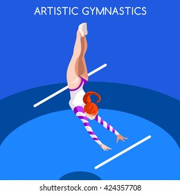 Artistic Gymnastics Acrobat Athletes Sportswoman Games Icon Set. 3D Isometric Athlete. Sporting Championship People Set Competition. Sport Infographic Gymnastics Uneven Bars events Vector Image