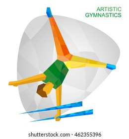 Artistic Gymnastics in the colors of the Games in Brazil. Flat athlete icon. Sport Infographic Artistic Gymnastics - Vector image clip art.