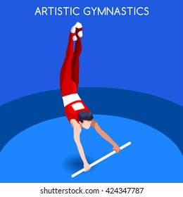 Artistic Gymnastics High Bar Athletes Sportsman Games Icon. 3D Isometric Athlete. Sporting Championship People Competition. Sport Infographic Artistic High Bar events set Vector Image