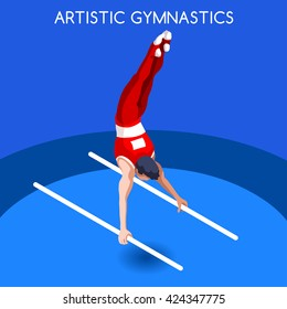 Artistic Gymnastics Parallels Bars Athletes Sportsman Games Icon. 3D Isometric Athlete. Sporting Championship People Competition. Sport Infographic Artistic Parallels Bars events set Vector Image