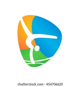 Artistic Gymnastics Web button isolated on white background. Athlete Sport Game Logo Competition Icon. Rio 2016 Olympic games in Brazil. summer Sport games symbols. vector illustration
