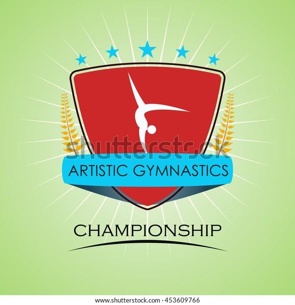 Artistic Gymnastics - Winner Golden Laurel Seal  - Layered EPS 10 Vector