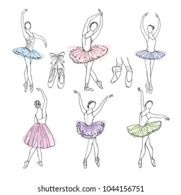 Artistic hand drawn pictures set of theatre theme. Ballerinas dancing. Ballerina dancer with tutu, pose woman in ballet, vector illustration