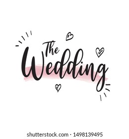 Artistic hand-drawn wedding lettering template vector