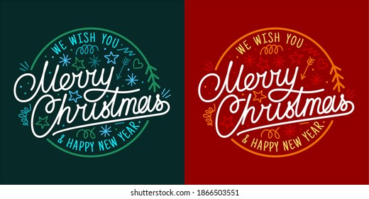 Artistic Handwritten Merry Christmas And Happy New Year Lettering Vector Illustration Art