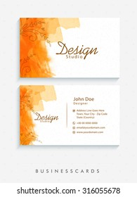Artistic horizontal business card or visiting card set with company details.