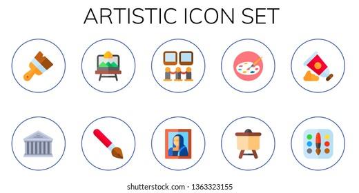 artistic icon set. 10 flat artistic icons.  Simple modern icons about  - paint brush, ancient, artboard, brush, art museum, art, painting palette, canvas, paint tube, palette