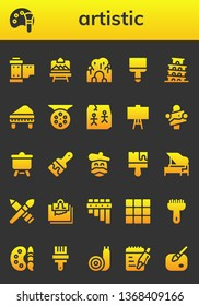 artistic icon set. 26 filled artistic icons.  Simple modern icons about  - Reel, Color palette, Artboard, Cave, Paint brush, Pisa, Piano, Art, Canvas, Artist, Brush, Note, Flute