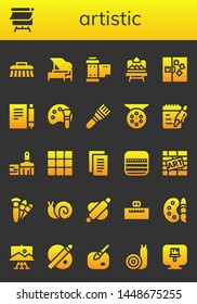 artistic icon set. 26 filled artistic icons.  Simple modern icons about  - Brush, Canvas, Piano, Reel, Artboard, Note, Color palette, Notes, Paint brush, Palette, Graffiti, Brushes