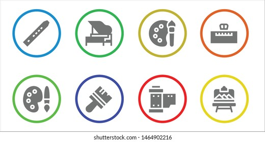 artistic icon set. 8 filled artistic icons.  Collection Of - Flute, Palette, Piano, Brush, Color palette, Reel, Artboard