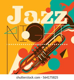 Artistic jazz night background in color, with silhouette of a trumpet and abstract design elements. Vector illustration.