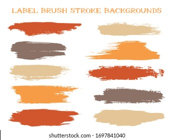 Artistic label brush stroke backgrounds, paint or ink smudges vector for tags and stamps design. Painted label backgrounds patch. Interior paint color palette samples. Ink dabs, red brown splashes.