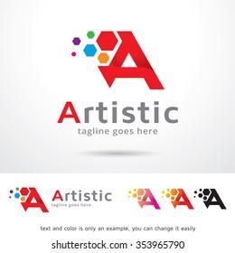 Artistic Letter A Logo Template Design Vector