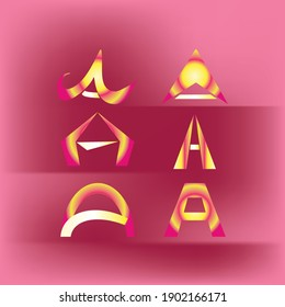 Artistic A letters with sunset theme colors, useful for logo, identity, or business cards.