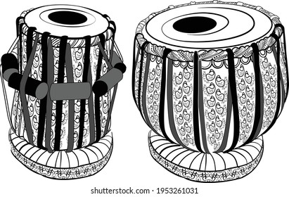 Artistic line drawing of Indian Classical Music fine designed Instrument Tabla black and white line art illustration.