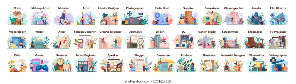 Artistic occupation set. Designer, dancer, artist, musician, florist and sculptor, restorer and make up artist. Collection of hobby and m odern profession. Isolated vector illustration