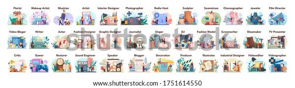 Artistic occupation set. Designer, dancer, artist, musician, florist and sculptor, restorer and make up artist. Collection of hobby and m odern profession. Isolated vector illustration