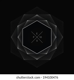 Artistic, ornamental background line graphics as hexagon shape text box for web page, brochure, banner- vivid white version