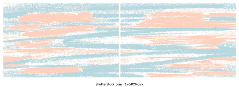 Artistic paint strokes on canvas. Oil, acrylic texture set. Vector diptych paintings. Abstract grungy backgrounds, light hand drawn sage blue and coral colours