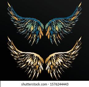 Artistic poligonal black wings on gradient background, sharp shape wing of angel.