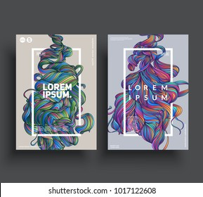Artistic poster templates. Hand drawn fluid shapes. Esp10 vector.