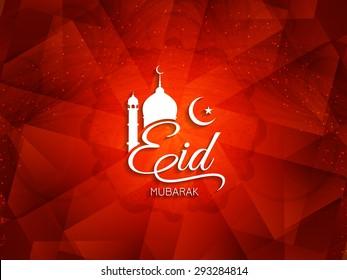 Artistic red color Eid Mubarak Islamic background design.