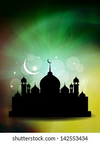 artistic religious colorful background design for ramadan and eid with beautiful mosque. vector illustration