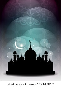 Artistic religious Eid background with mosque. vector illustration