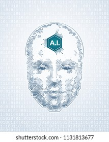 Artistic Representation Of Artificial Intelligence. Human face formed from electronic pattern of printed circuit board. Illustration on the subject of 'Future Technologies'.